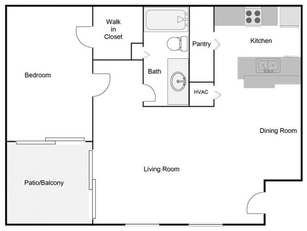 one-bedroom-one-bathroom-floor plan